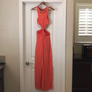 Creamsicle Bebe maxi dress with cutouts